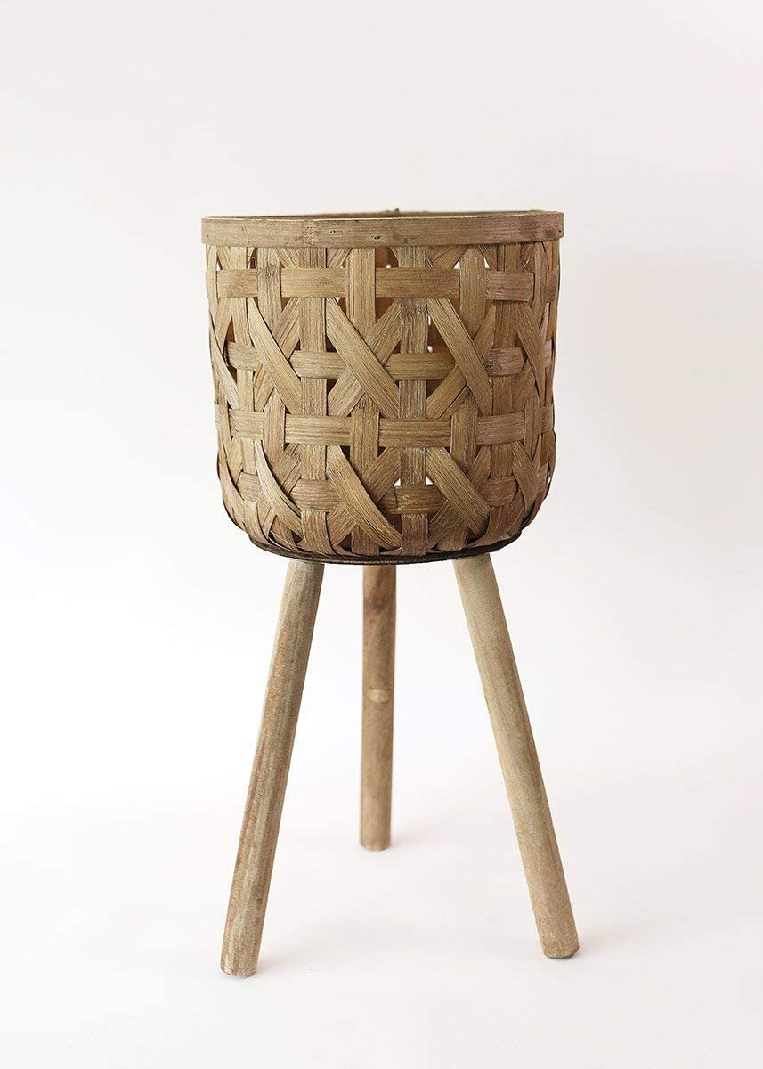 Small Woven Cattail Plant Stand Standing Planter