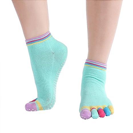 Westeng 1 pare Calcetines de Yoga Cortos Transpirable Moda Medias Calcetines con cinco dedos para Mujer