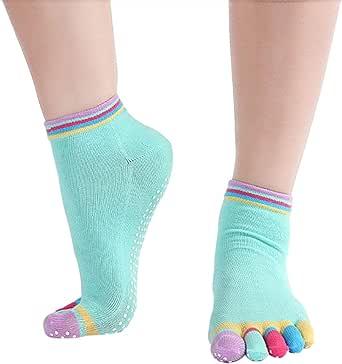 Bullidea Socks Five Fingers Toe Short Socks Women Yoga Sports Ankle Non Slip Cotton