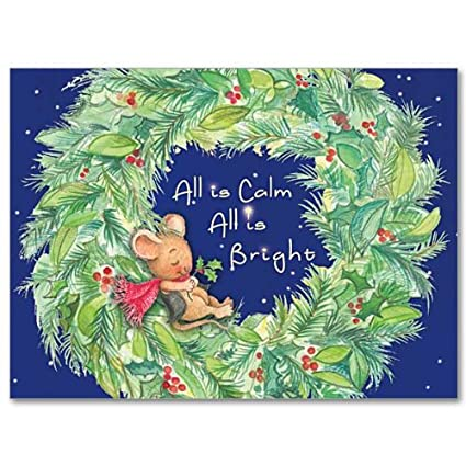All Is Calm With Wreath Mouse Deluxe Religious Christmas Holy Greeting Card 20 Cards With Envelopes