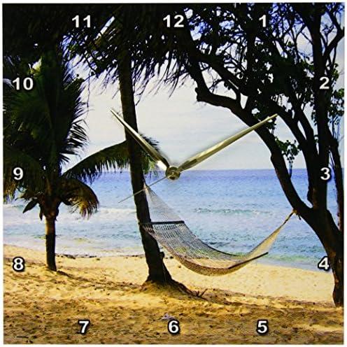 3dRose DPP_194375_2 Tropical Beach Hammock Wall Clock