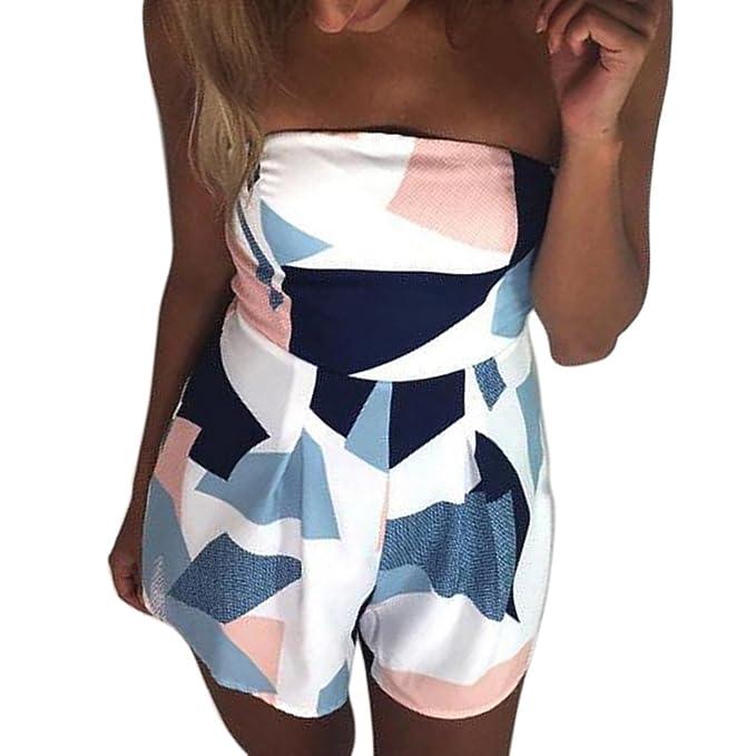 Shinekoo Jumpsuit Damen Sommer Strand Blumenmuster Trägerlos Overall  Spielanzug Kleid Strandkleid 7fb397edc2