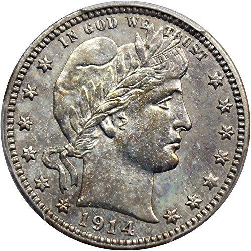 1914 D Barber Quarters Quarter MS62 PCGS