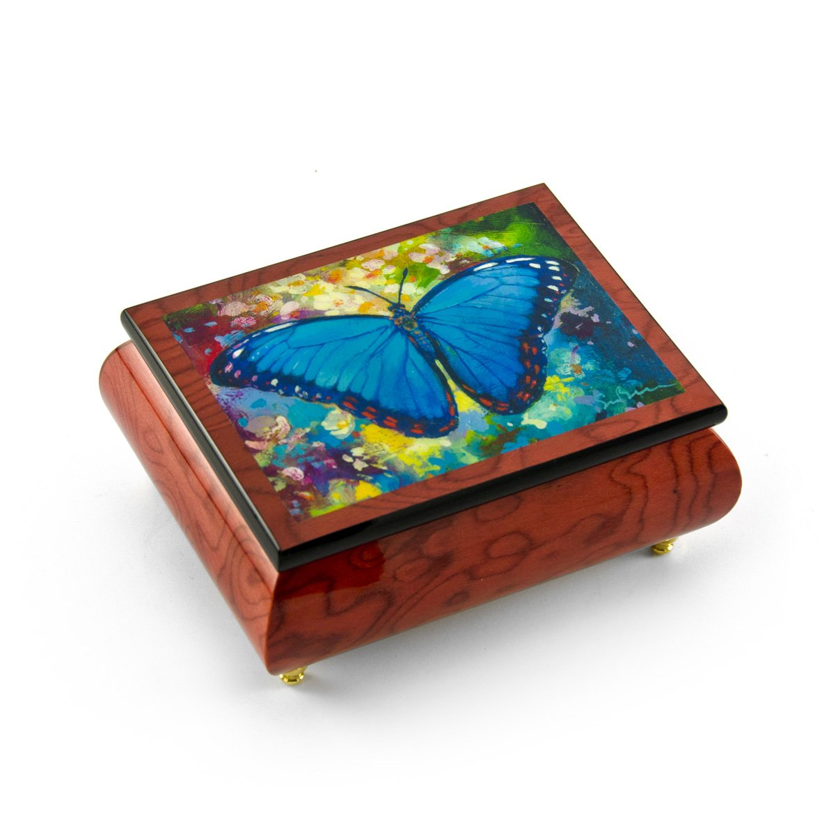 Gorgeous Handcrafted Red-Wine Butterfly Music Box by Ercolano - ''Blue Morpho'' Simon Bull - There is Love (Wedding Song) - SWISS