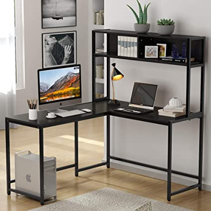 Tribesigns L-Shaped Desk with Hutch, 55\