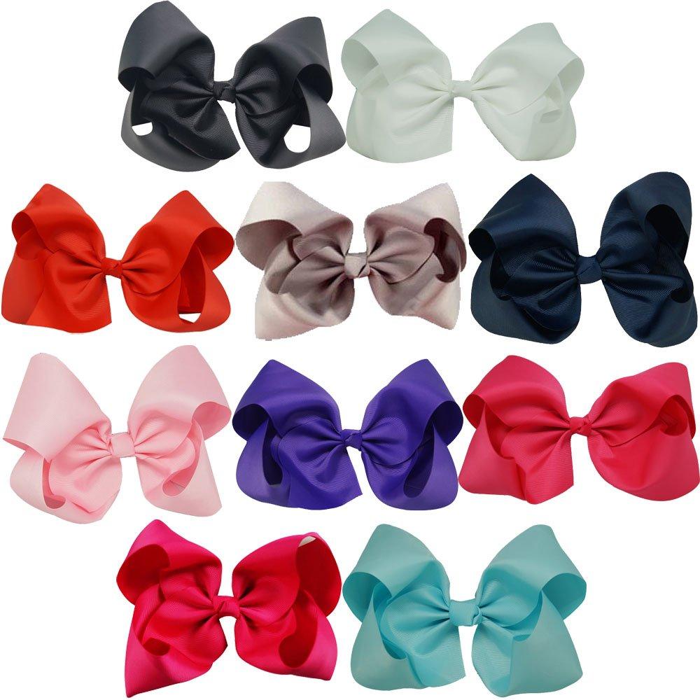 CN 5pcs 20cm Big Boutique Rhinestone Rainbow Hair Bow Grosgrain Ribbon Hair Clips for Girls Teens Women