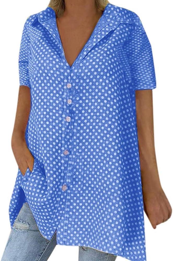 VEMOW Camisas Manga Larga de Mujer Lunares Collar de Vuelta Casual Camisa Suelta Blusa Arriba(Azul, S): Amazon.es: Ropa y accesorios