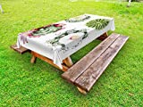 Ambesonne Cactus Outdoor Tablecloth, Retro Mexican Hot Desert Cactus Flower Plant Botanic Nature Vintage Print Image, Decorative Washable Picnic Table Cloth, 58 X 84 inches, Multicolor