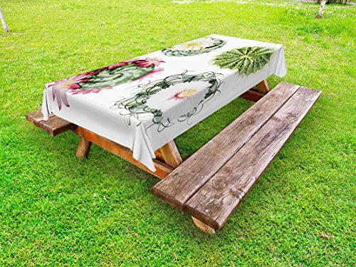 Ambesonne Cactus Outdoor Tablecloth, Retro Mexican Hot Desert Cactus Flower Plant Botanic Nature Vintage Print Image, Decorative Washable Picnic Table Cloth, 58 X 84 inches, Multicolor by Ambesonne
