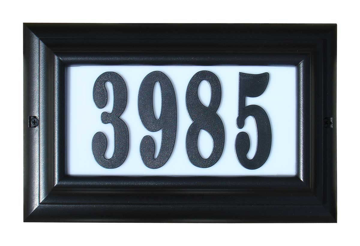 Qualarc LTL-1301BL-PN Edgewood Large Lighted Address Plaque in Black Frame Color with 4-Inch Black Polymer Numbers