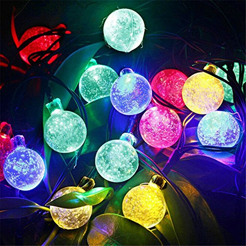 Hulorry Waterproof String Lights, Outdoor Solar String Lights 30 LED Ball String Lights Holiday Party Decoration Lights for Home, Lawn, Wedding, Patio, Party and Holiday Decorations,Colorful by Hulorry
