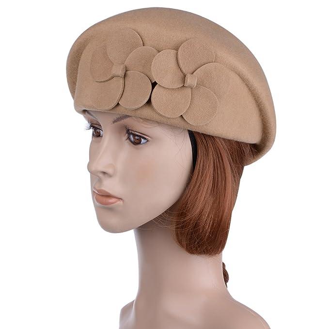 Vbiger Baske cappelli berretto cappello di lana donna Fedora Cappello per  Donna Beige- Taglia unica 8b6a791f42b0