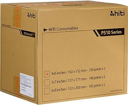 2 Rolls Total 660 Prints Hiti P510 4x6 Paper and Ribbon Kit for P510 Series
