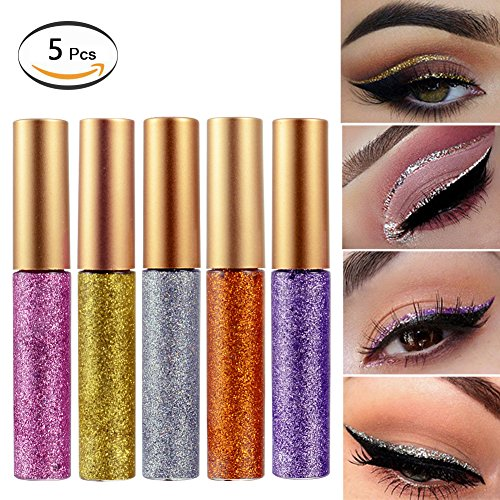 Liquid Eyeshadow Glitter Eyeliner 5 Colors Highlighter Brighten Concealer Face Eye Cosmetic Glow Shimmer Makeup Glitter Brighten Pigments Makeup Cover Perfection Tip Concealer for women (5 Pcs A)