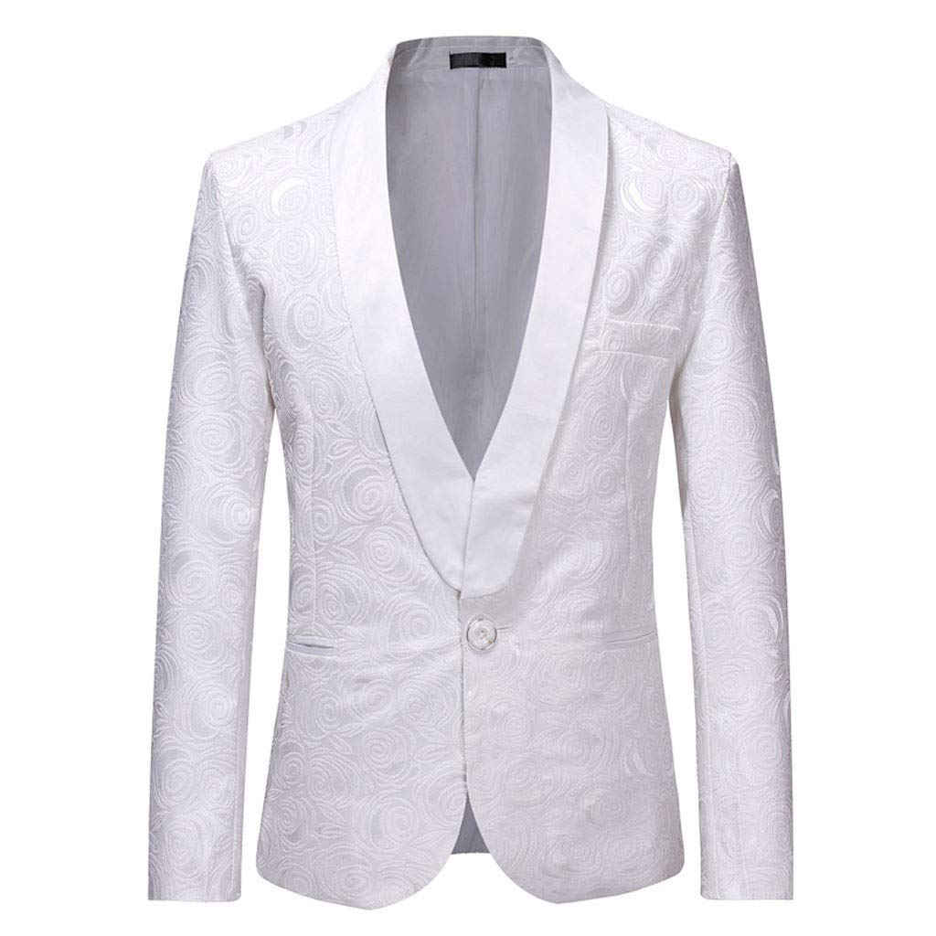 Funnygals - Men's Suit Jacket Blazer Dress Lightweight Button Slim Fit Sports Coats Business Daily Floral Print Blazers White by Funnygals - Clothing