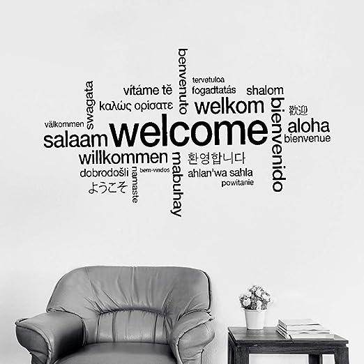 GJQFJBS Cartel de bienvenida Muchos idiomas Etiqueta de la ...