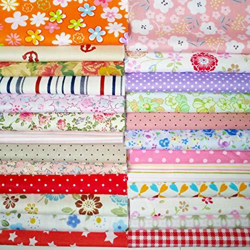 Quilting Fabric, Misscrafts Cotton Craft Fabric Bundle Squares Patchwork Pre-Cut Quilt Squares for DIY Sewing Scrapbooking Quilting Dot Pattern (25PCS 20X20cm) Cotton Medium Dots Fabric