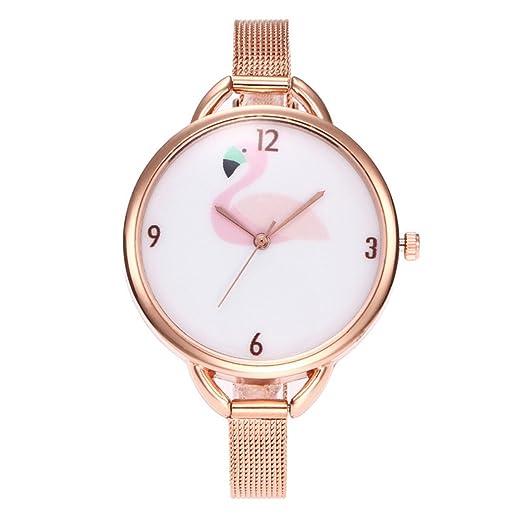 Souarts - Reloj analógico para mujer, movimiento de cuarzo y pulsera de malla acero de color oro rosa, diseño de flamenco, 23,5 cm: Amazon.es: Relojes