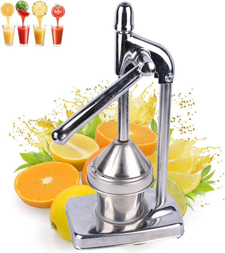 XYWN Manual Orange Juicer Stainless Steel Chrome Citrus Hand Press Fresh Fruit Squeezer Professional Juice Extractor