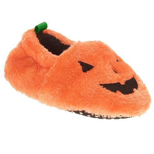 b48299acaadca Amazon.com | Infant Boys & Girls Plush Orange Pumpkin Slippers Baby ...