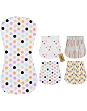 iZiv 4 PACK Baby Baby Burp Cloths Feeding Nursing Towel Accessory, 3 Layers Absorbent Printing Soft Cotton 0-2 Years (Color-6)