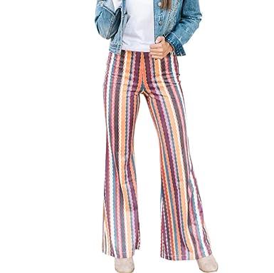 f89dbca821701 Suma-ma Women Striped Printing Flare Pants Fashion Casual Rainbow Long  Trousers at Amazon Women's Clothing store: