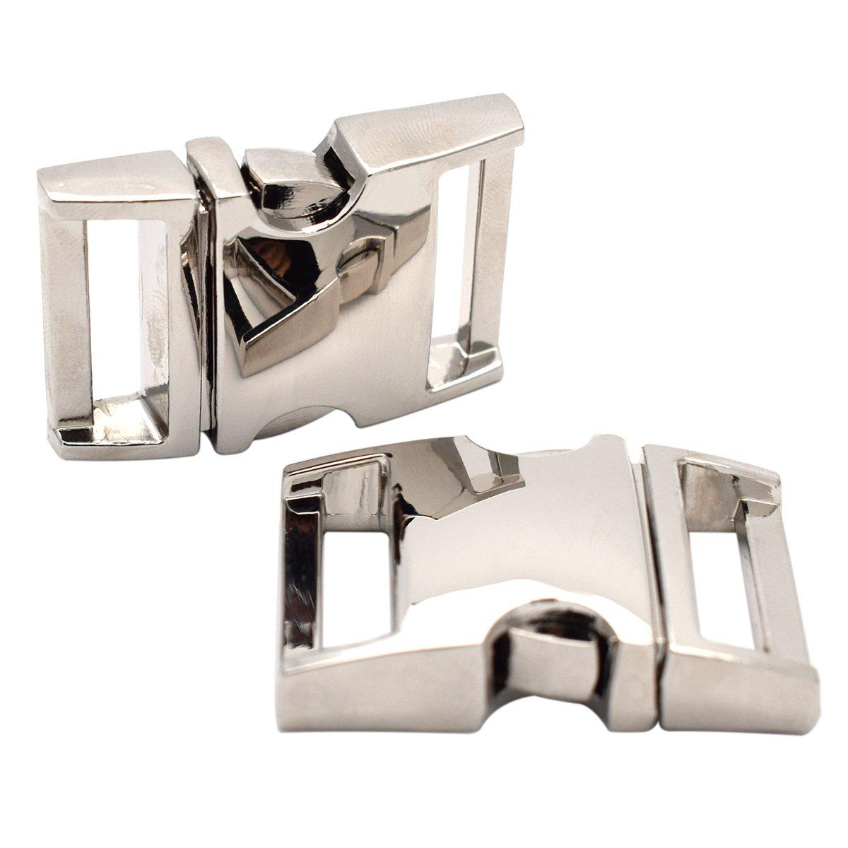 Cierre de plata 20/mm 3//4/Side liberaci/ón hebillas de metal paquete de 5