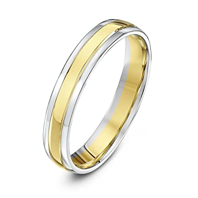 theia unisex court shape 9 ct white and yellow gold wedding ring size h - Wedding Ring White Gold