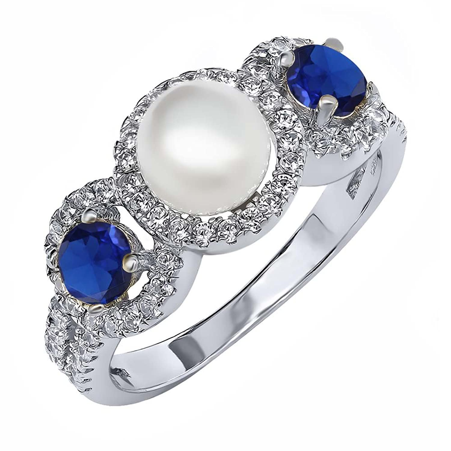 0.80 Ct Round Cultured Freshwater Pearl Blue Zirconia 925 Sterling Silver Ring