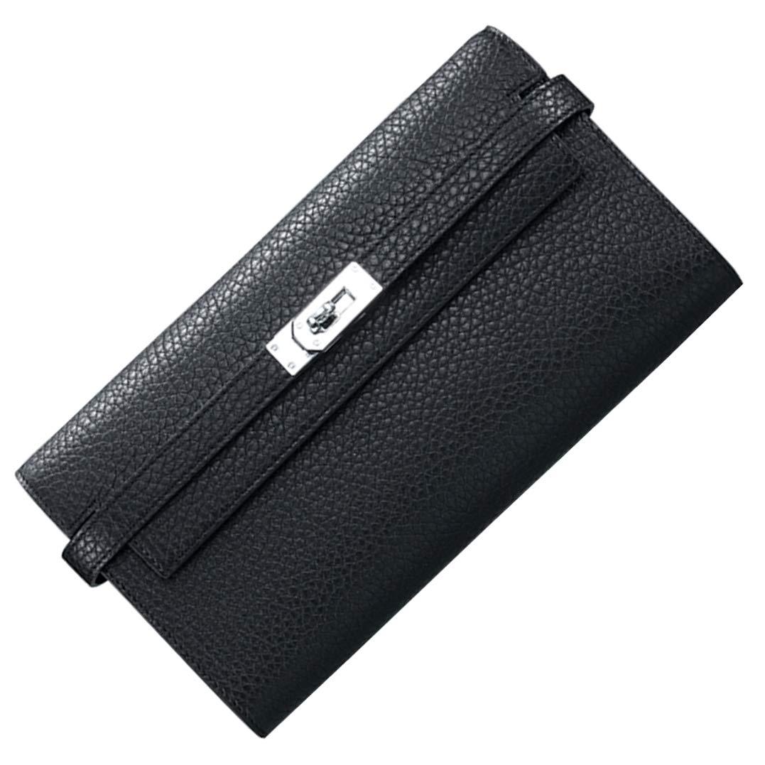 F.BLUE Palm Print Lady's Genuine Leather Long Wallet Women's Padlock Handbag FB002 (Black)