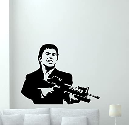 Al Pacino Wall Decal Scarface Vinyl Sticker Bandit Gangster Wall Art Design Housewares Kids Room Bedroom  sc 1 st  Amazon.com : scarface wall decal - www.pureclipart.com