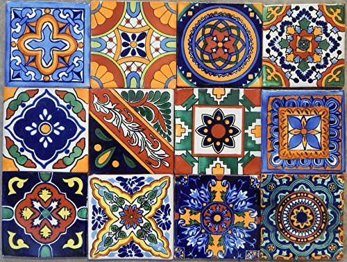 40 Mexican Talavera Tiles Hand Painted 6''x6'' Stairs Backsplash by Color y Tradicion