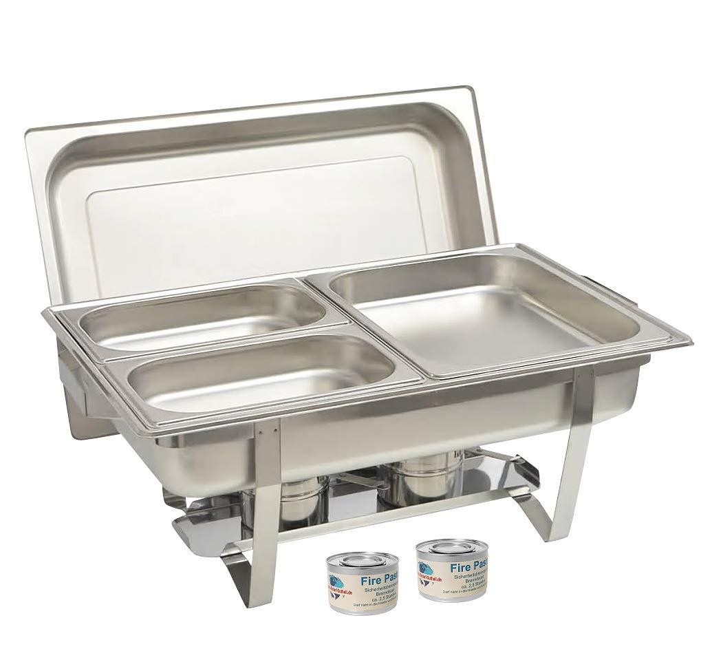 Gastro-Bedarf-Gutheil Chafing Dish Edelstahl Tiefe 65 mm bestehend aus: 1 Gestell mit Deckelhalterung 1 Wasserbecken 3 Speisebeh/älter 2 x GN 1//4 GN 1//2 Tiefe 65 mm 2 x Brennpaste
