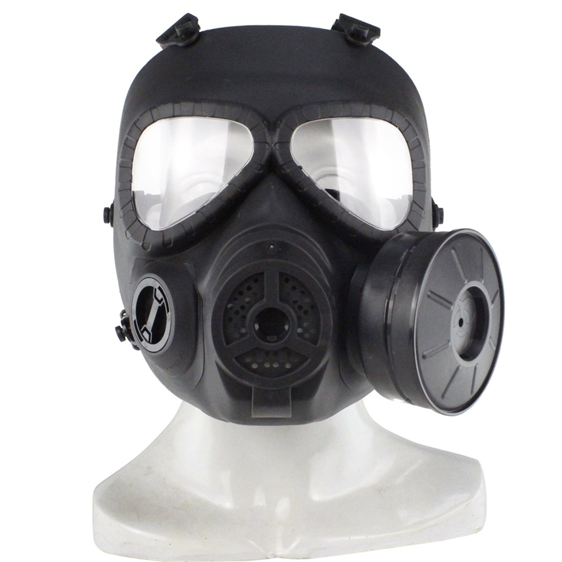 PeleusTech® WST Head Mask Full Face Single Canister Electric Ventilative Biochemical Gas Mask No Actual Anti Virus Function Toys Masks for Children Cosplay Halloween and Party Black