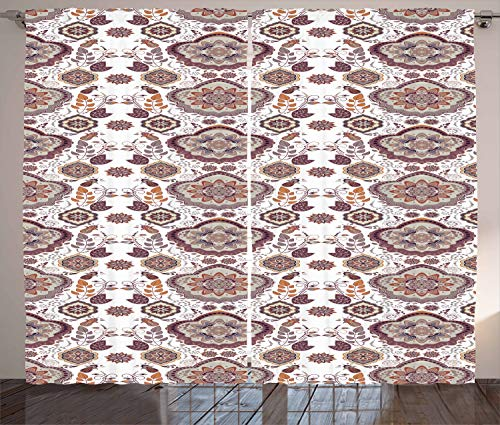 "Ambesonne Vintage Curtains, Floral Design 60's Geometric Flowers Leaves Petals Bohem Style Pattern Print, Living Room Bedroom Window Drapes 2 Panel Set, 108"" X 90"", White Brown"