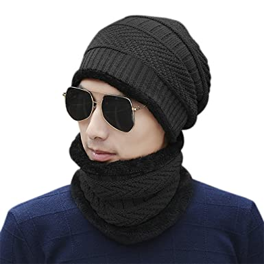 f4bde485ab3 2PCS Men Hat Scarf Set Winter Knitted Beanies Circle Scarf Thick Neck Head  Wraps Adult Warm ...