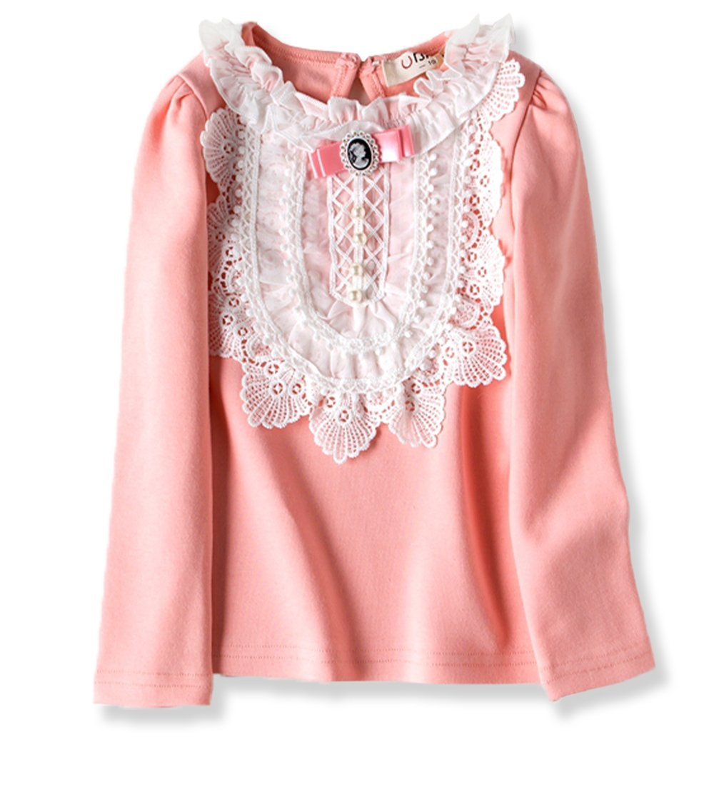 VYU Little Girls Long Sleeve Flower Blouse 2-8 Year Kids Autumn Cotton Lace Tops