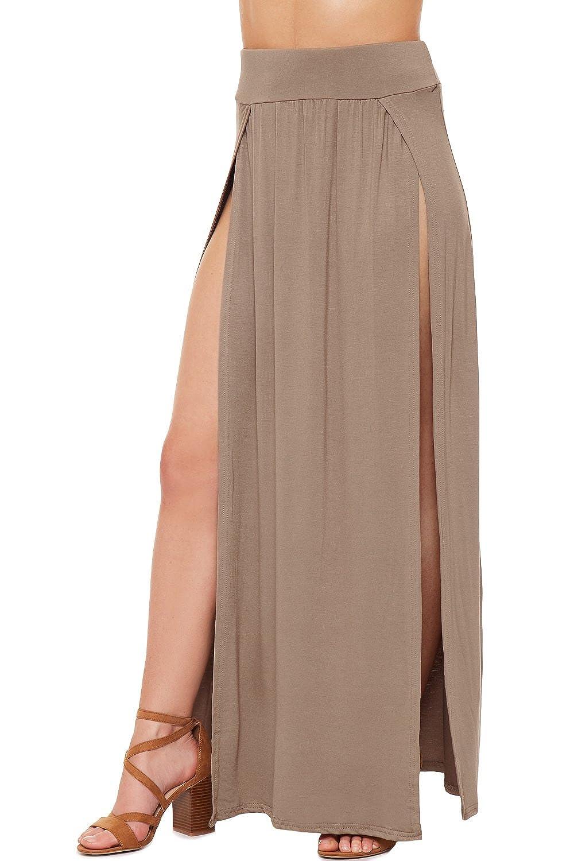 WearAll Womens Double Split Maxi Long Skirt Ladies Plain Basic Two Side Slit 8-14