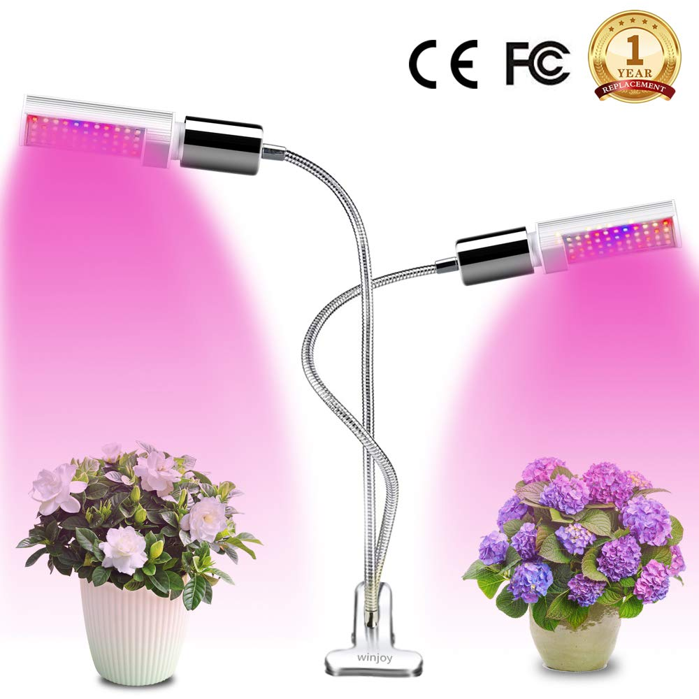 LED Grow Light for Indoor Plant, Winjoy Upgraded Full Spectrum Plant Light with Replaceable Bulb,Dual Head 45W Plant Grow Lamp with Flexible Gooseneck, Professional for Seedling Blooming Fruit