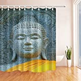 waffle robe with liner - Zen Decor Granite Buddha Image Dressed with Yellow Robes in Buddhist Temple?Mildew Resistant Polyester Fabric Shower Curtains for Bathroom Shower Curtain Hooks Included 70.8X70.8in