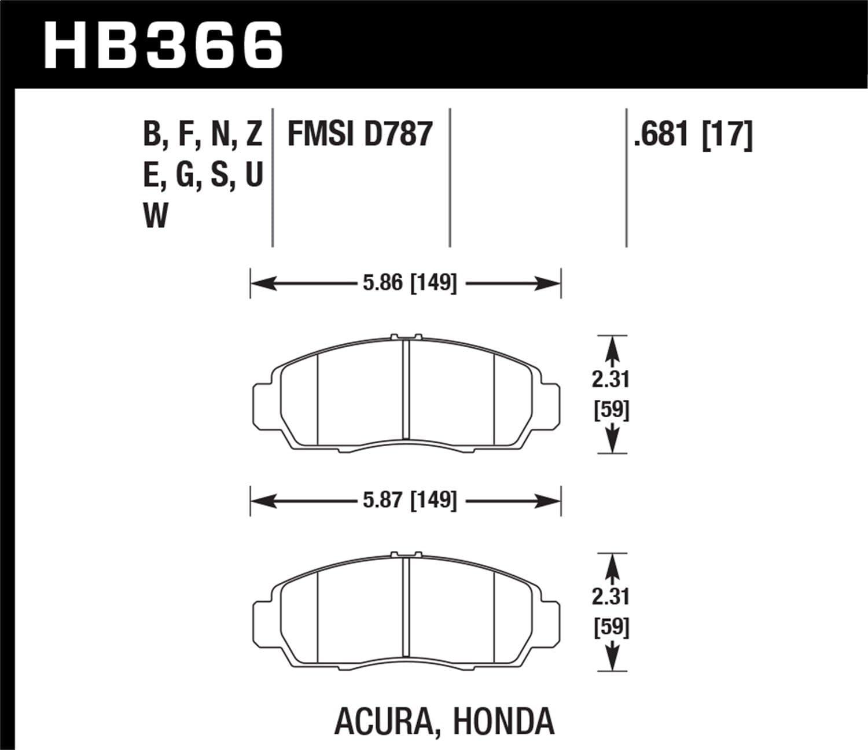 Hawk Performance HB217F.681 HPS Performance Ceramic Brake Pad