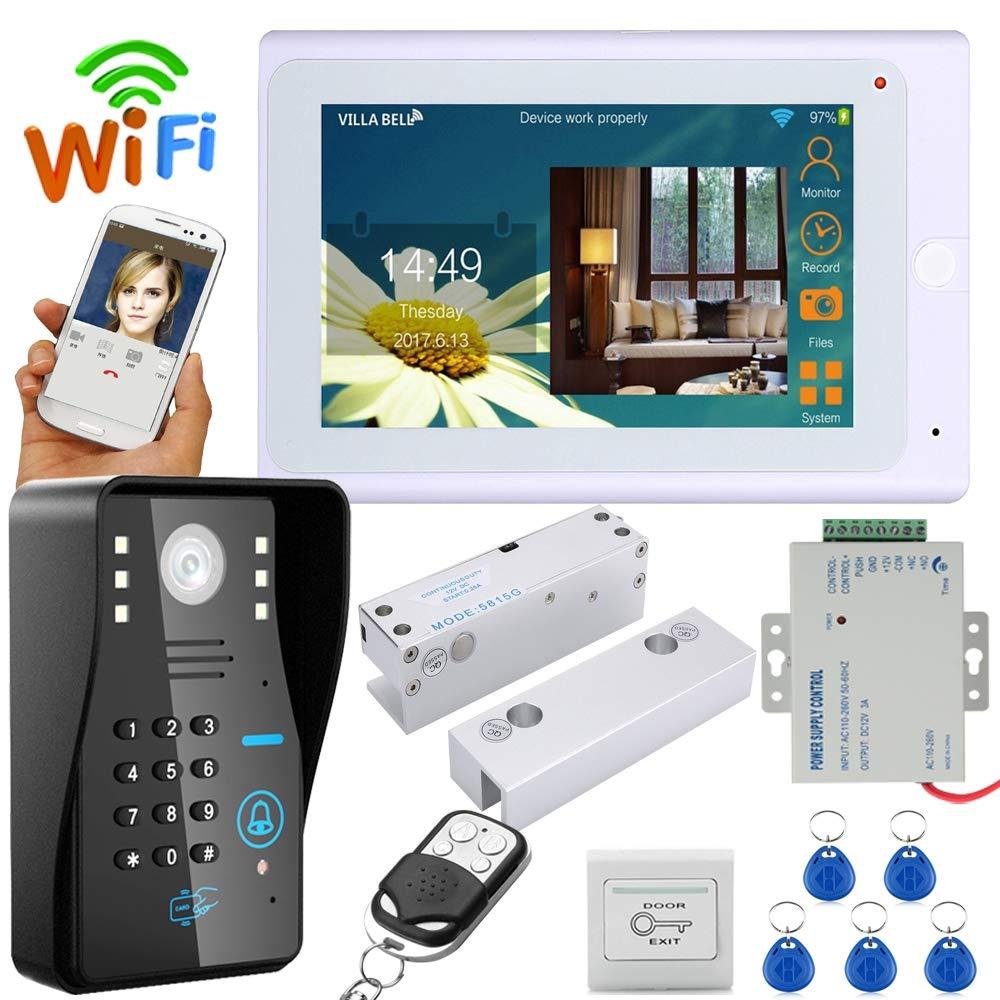 QZH 7-Zoll-Video-Türklingel, WiFi-Gegensprechanlage LCD-Türklingel, Nachtsicht, mit elektrischem NC-Schloss, ID-Karte Passwort   Fernbedienung entriegeln, für Familien