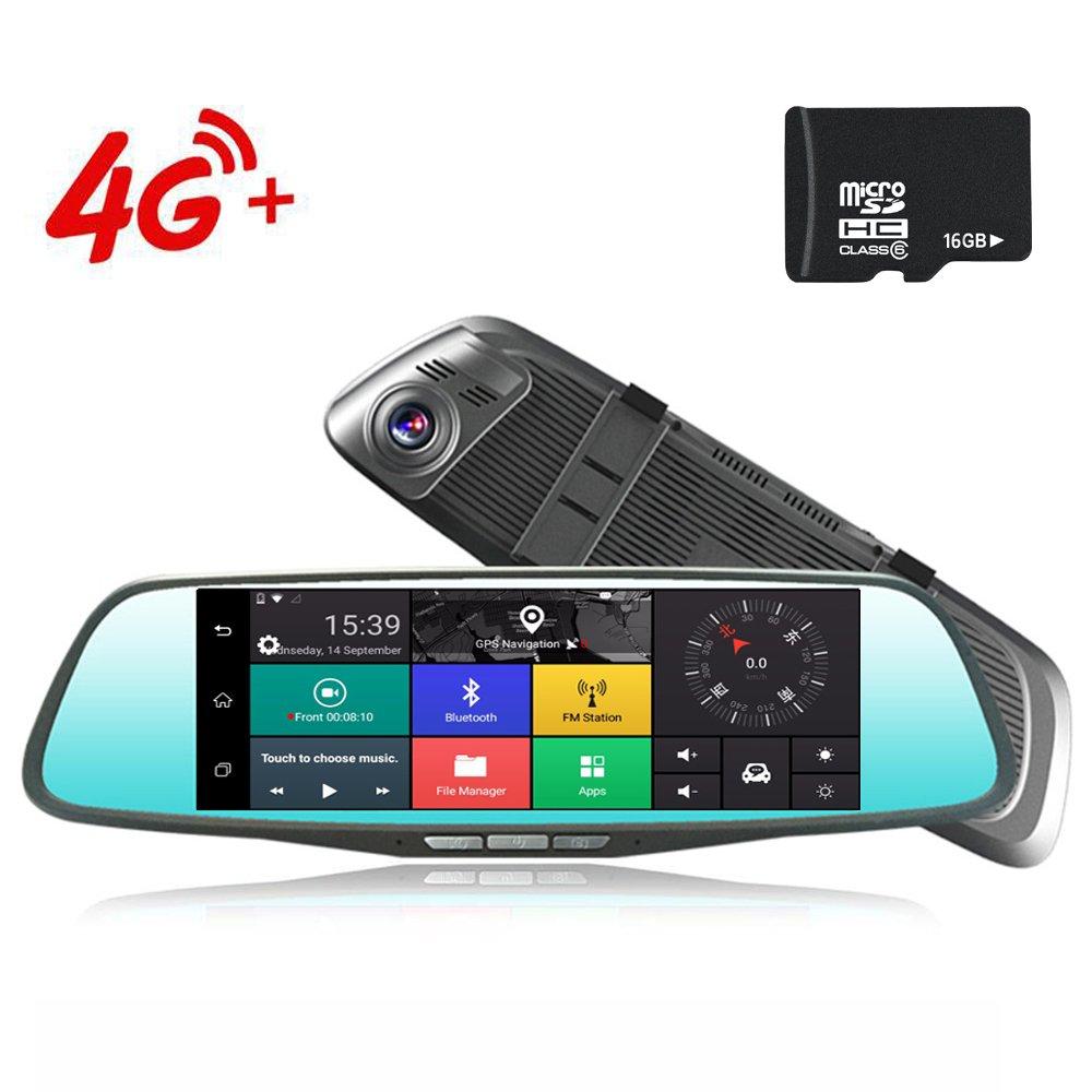 4 G車ダッシュカムnhsunray 8インチタッチGPSナビゲーションWiFi BluetoothデュアルレンズバックミラーカメラFHD 1080p FM送信機Android 5.1車両ビデオレコーダー、ナイトビジョン、170-degree Wide Angle Lens with g-senor NH200 B075R2X7JF 16G SD 16G SD