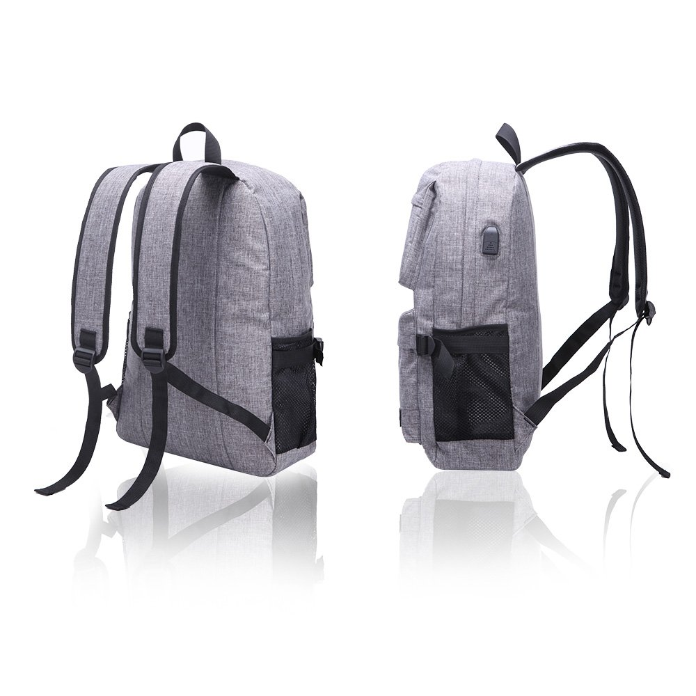 Hanxiema Travel Laptop Backpack Fit 15.6 Inch Laptop or Macbook Oxford Cloth with USB Charging Port Large Capacity School Computer Bag for Men Women (Grey HXm-02-1) by Hanxiema (Image #1)