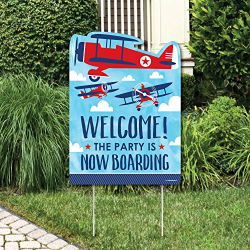 Big Dot of Happiness Taking Flight - Airplane - Party Decorations - Vintage Plane Baby Shower or Birthday Party Welcome Yard Sign