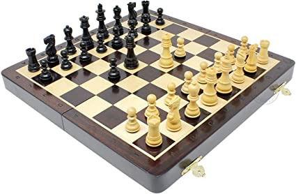 """10/"""" Chess Set Travel Magnetic Folding Board Rose Wood House of Chess"""