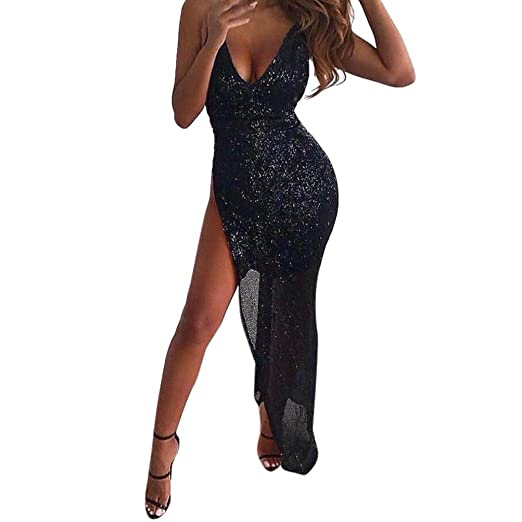 12e629abe449e Minisoya Women Sequins Deep V Sleeveless Bodycon Dress Split Evening Party  Club Irregular Side Slit Long