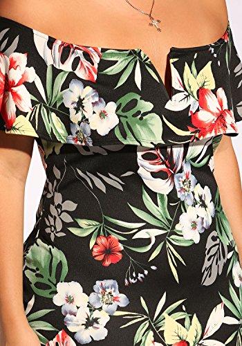 Debshops Femmes Plus Robe Moulante En Couches Floral Tropical Noir