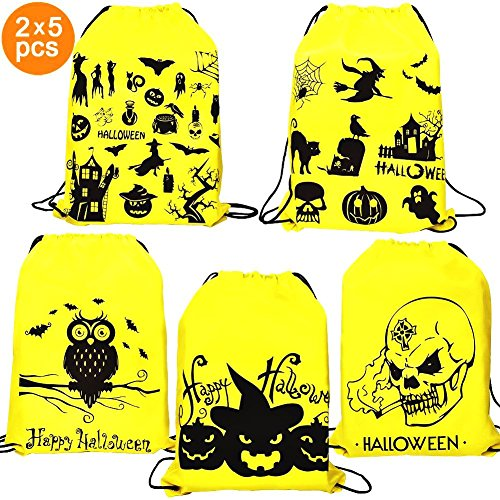 Halloween Bags For Trick or Treat - 10 Pack Drawstring Halloween Goodies Party Backpack Bags For Party Favors, Snacks, Children Arts & Crafts, Event Supplies