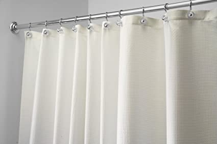 MDesign Textured Woven Fabric Shower Curtain